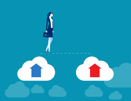 Businesswoman walks from old cloud to new cloud. Changing business
