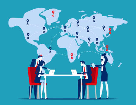 Team working in front of world map. Global trade