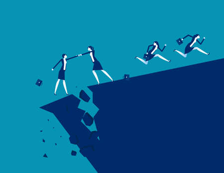 Business team and partnership. Cracks and crises, Mountain to crash Ilustrace