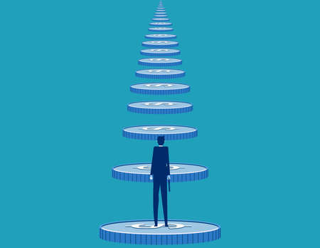 Businessman looking at the long coin ladder. Finance endless Ilustrace