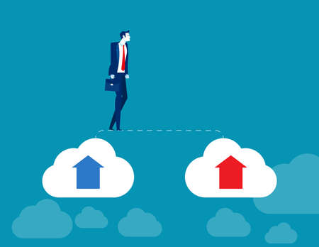 Businessman walks from old cloud to new cloud. Changing business