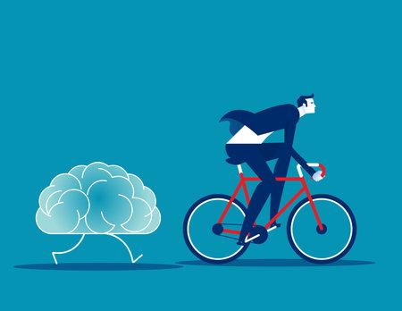 Businessman training brain. Brainstorm vector illustration concept  イラスト・ベクター素材