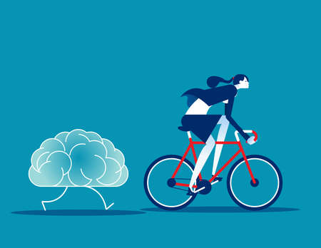 Businesswoman training brain. Brainstorm vector illustration concept  イラスト・ベクター素材