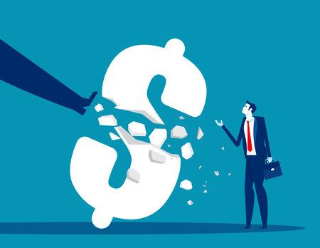 Big foot pedaling break the money symbol. Economy crisis