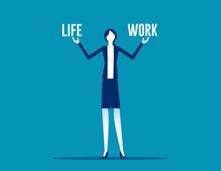 Business woman holding life and work balance 向量圖像