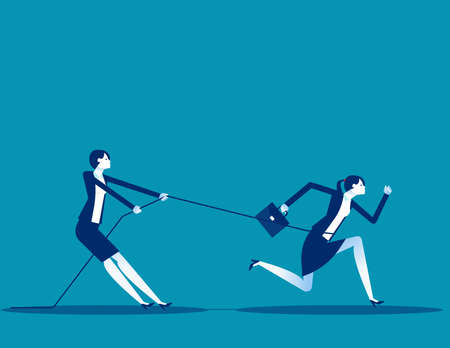 Business person uses a rope to pull his companion. Competition
