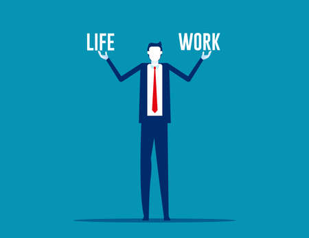 Business man holding life and work balance 向量圖像