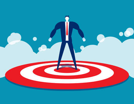 Strong businessman standing on target. Conquer the goal
