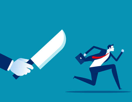Businessman being chased by a knife. Danger 向量圖像