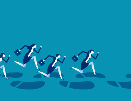 A group of business people running along huge footprints 向量圖像
