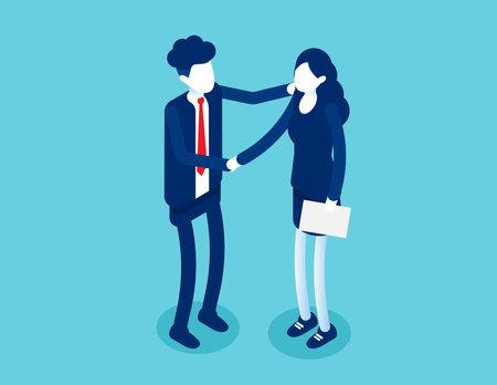 Partnership successful contract. Greeting partner friendship agreement idea 向量圖像