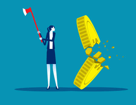 Businesswoman cut the gold coin with  ax. Financial crack concept
