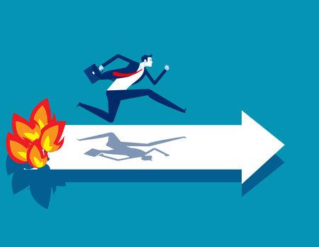 A businessman ran away from a burning arrow. Economy crisis
