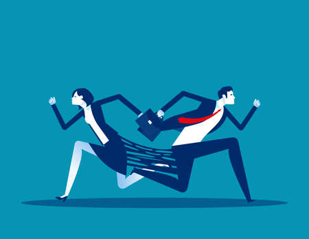 Business person try to separate. Opposite different running direction