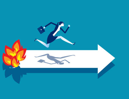A businesswoman ran away from a burning arrow. Economy crisis