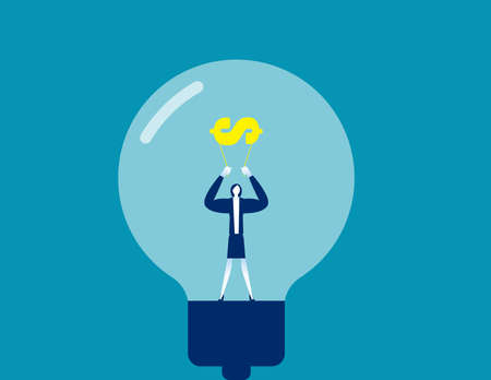 Stronger business with creativity and financial. Business light bulb concept 向量圖像