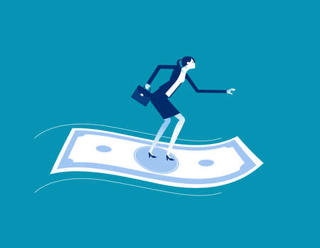 Businesswoman standing on flying money. Financial concept 向量圖像