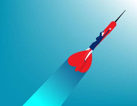 Business woman ride darts upward. Business startup