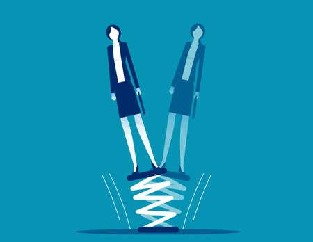 Businesswoman standing on springboard. Business flexibility 向量圖像