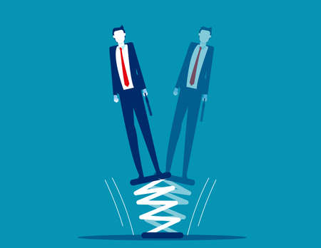 Businessman standing on springboard. Business flexibility 向量圖像
