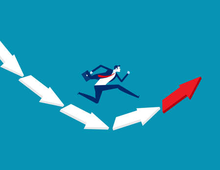 Businessman jumping from falling arrow to rising arrow. Direction concept