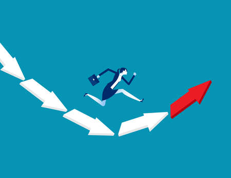 Businesswoman jumping from falling arrow to rising arrow. Direction concept 向量圖像
