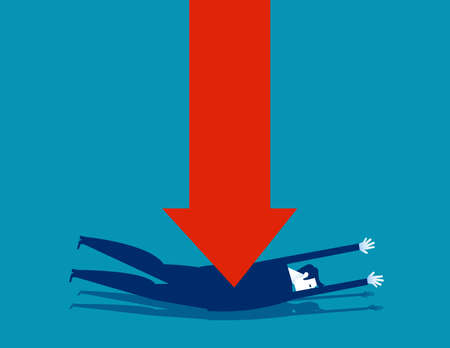 A business person is superimposed with a red arrow. Arrow falling 向量圖像