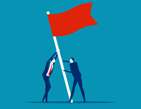 Flag as a symbol of success and heights. People raise a flag together