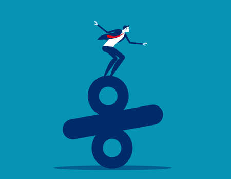 Businessman standing on top of percentage. Business balance concept