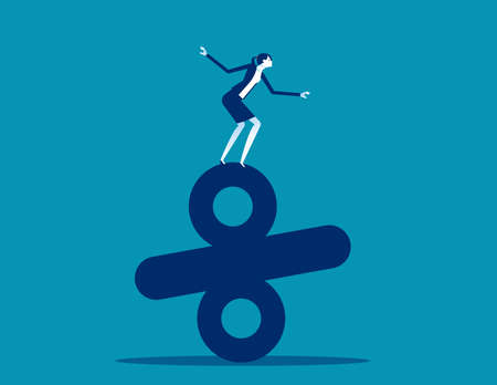 Businesswoman standing on top of percentage. Business balance concept