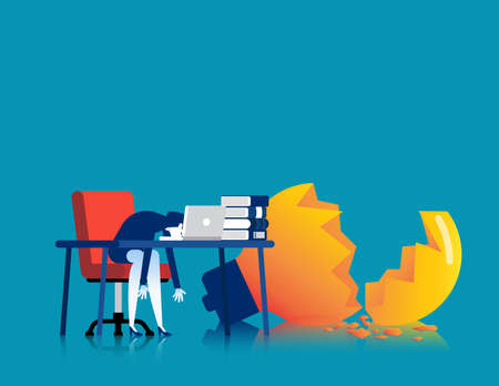 Tired business person on the desk with broken lamp. Hard work vector concept