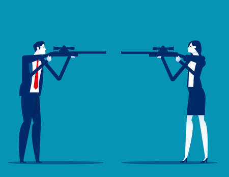 Business people and partners turned their guns and ready to shoot each other