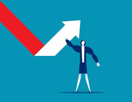 Businesswoman turns to change arrow direction successful Çizim