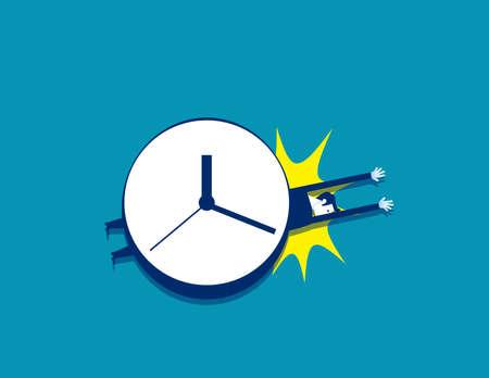 Businessman under a big clock with stress and time pressure Çizim