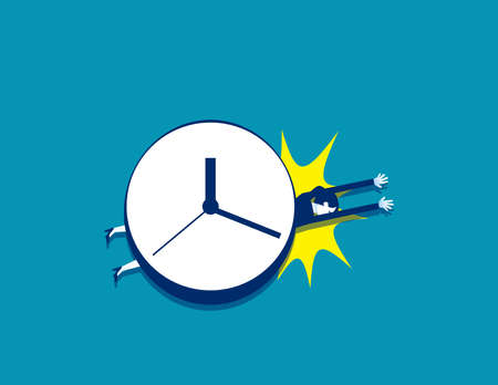 Businesswoman under a big clock with stress and time pressure Çizim