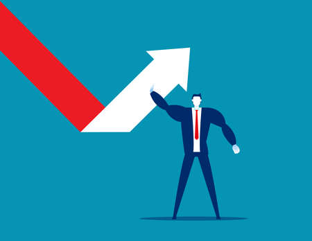 Businessman turns to change arrow direction successful