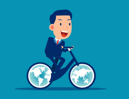 Ride a bicycle with globes for wheels. Moving the world forward Çizim