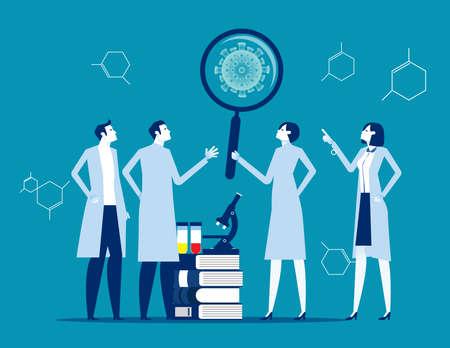 Scientists study molecule virus. Medical laboratory invented cure new virus. Bacterium or virus research