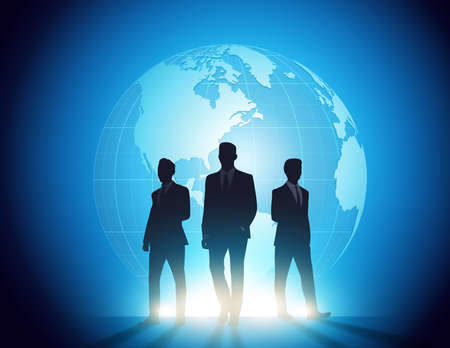 Global Business people team silhouettes. Vector style concept