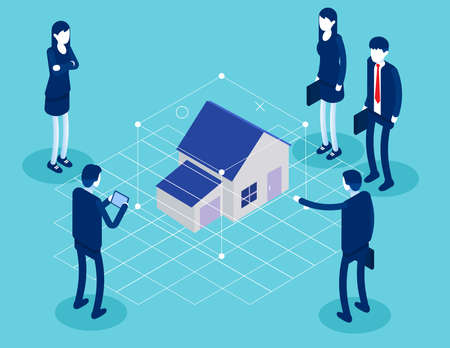 Augmented reality house concept with character. Flat isometric vector illustration
