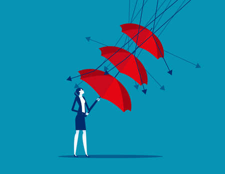 A businesswoman reflect low graph with umbrella Illusztráció