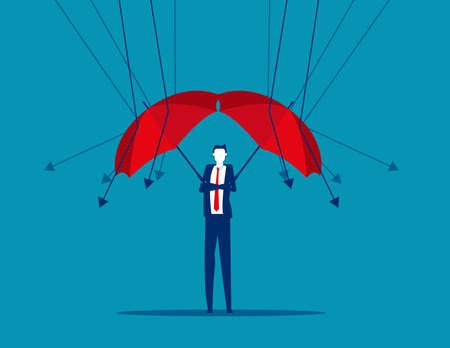 A businessman reflect low graph with umbrella Illusztráció