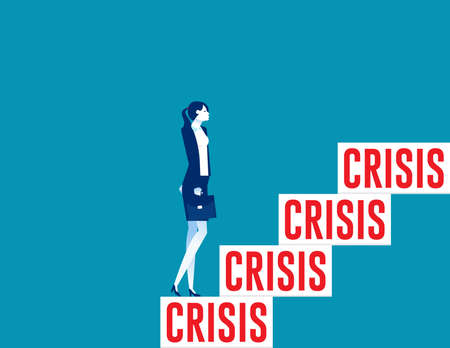 A business womanup to crisis stairs