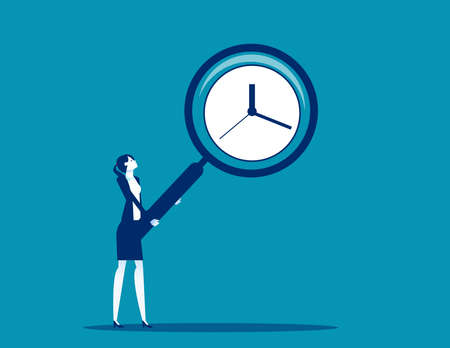 Businesswoman holding a big magnifying glass showing clock