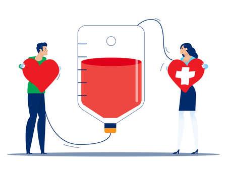 People make blood donations and receive donations Illusztráció