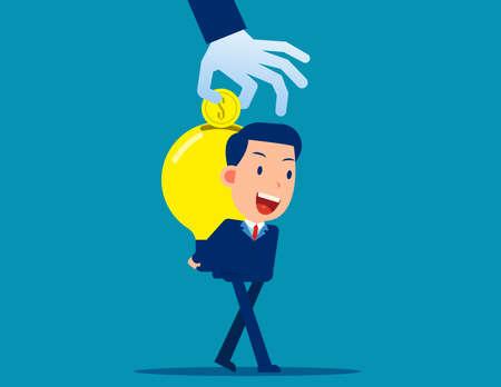 Business big idea light bulb. Invention idea into money concept