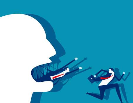 Big heads devour people or big businesses devour small businesses Ilustración de vector