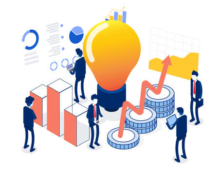 Business team character having finance management creative ideas. Flat isometric vector illustration