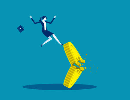 Falling from a broken coin. Lose money investment in financial crisis Ilustração Vetorial