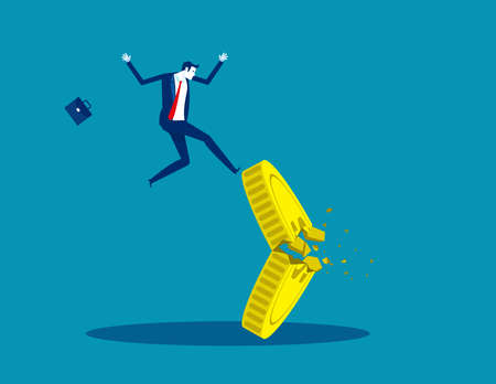 Falling from a broken coin. Lose money investment in financial crisis